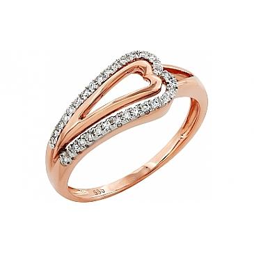 Кольцо с бриллиантами из красного золота 99008
