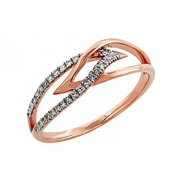 Кольцо с бриллиантами из красного золота 99010