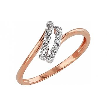 Кольцо с бриллиантами из красного золота 99105