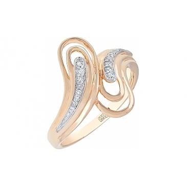 Кольцо с бриллиантом из красного золота 113710