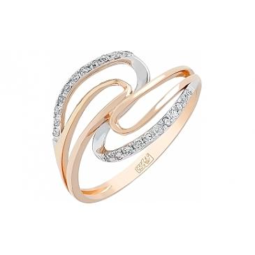 Кольцо с бриллиантом из красного золота 113715
