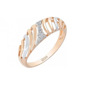 Кольцо с бриллиантом из красного золота 113760