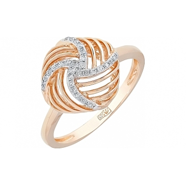 Кольцо с бриллиантом из красного золота 113765