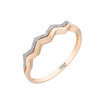 Кольцо с бриллиантом из красного золота 113779
