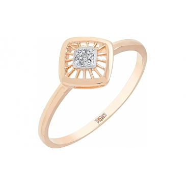 Кольцо с бриллиантом из красного золота 113780