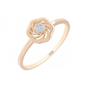 Кольцо с бриллиантом из красного золота 113784