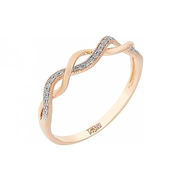 Кольцо с бриллиантом из красного золота 113788