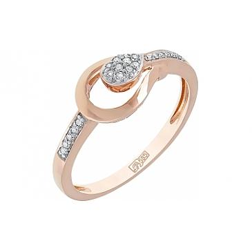 Кольцо с бриллиантом из красного золота 114509