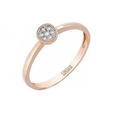 Кольцо с бриллиантом из красного золота 114513
