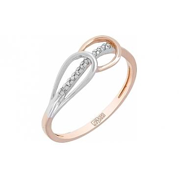 Кольцо с бриллиантом из красного золота 114514