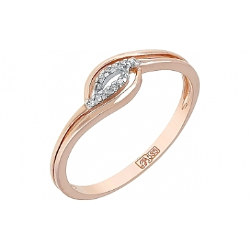 Кольцо с бриллиантом из красного золота 114516