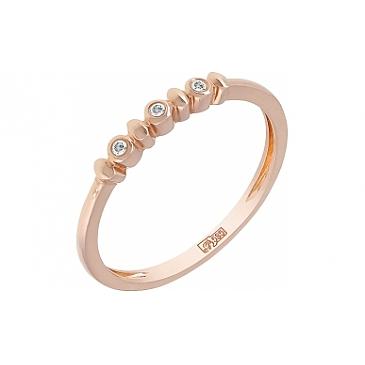 Кольцо с бриллиантом из красного золота 114522