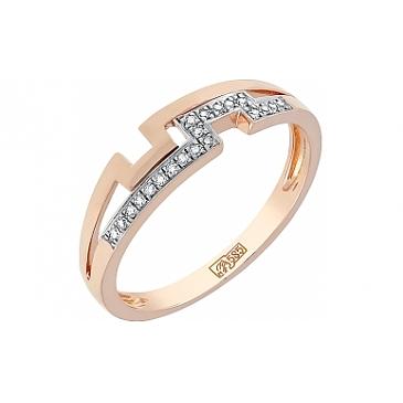 Кольцо с бриллиантом из красного золота 114523