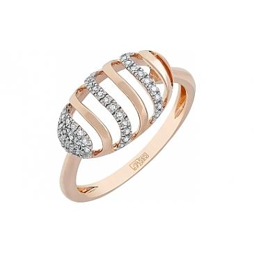 Кольцо с бриллиантом из красного золота 114912