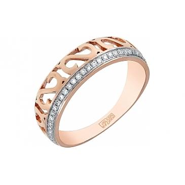 Кольцо с бриллиантом из красного золота 113851