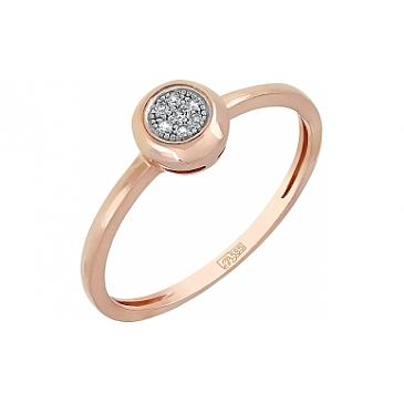 Кольцо с бриллиантом из красного золота 113854
