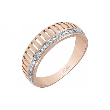 Кольцо с бриллиантом из красного золота 113861