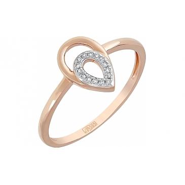 Кольцо с бриллиантом из красного золота 115296