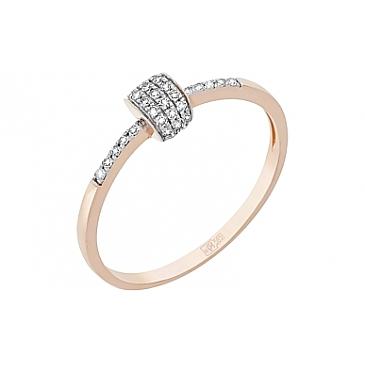 Кольцо с бриллиантом из красного золота 113857