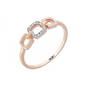 Кольцо с бриллиантом из красного золота 113860