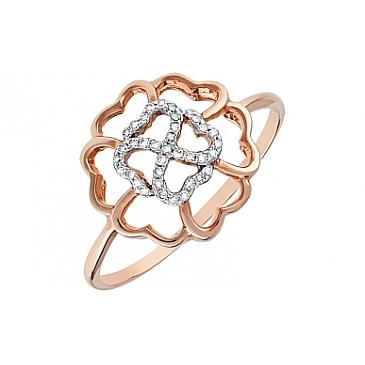 Кольцо с бриллиантом из красного золота 113872