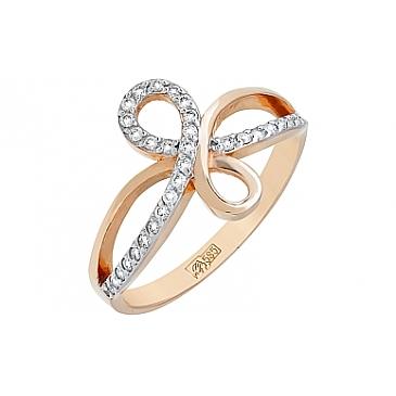 Кольцо с Бриллиантом из красного золота 77088