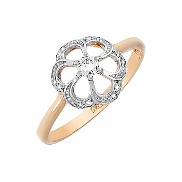 Кольцо с бриллиантом из красного золота 99636