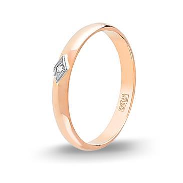 Кольцо с бриллиантом обручальное из красного золота 4256