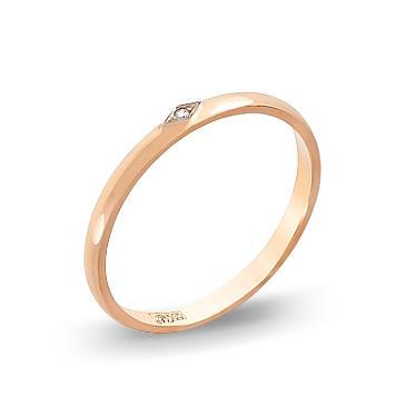 Кольцо с бриллиантом обручальное из красного золота 4255