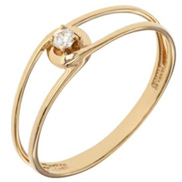 тонкое кольцо c бриллиантом из красного золота 11038576