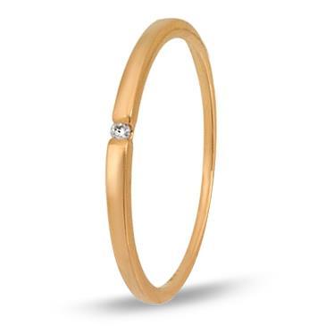 Тонкое кольцо c бриллиантом из красного золота 11038072