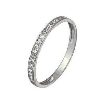 тонкое обручальное кольцо c бриллиантами из красного золота 13034323