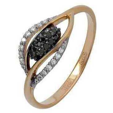 кольцо c черными и белыми бриллиантами из красного золота 11038543