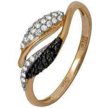 кольцо c черными и белыми бриллиантами из красного золота 11038544