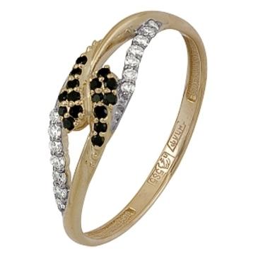 кольцо c черными и белыми бриллиантами из красного золота 11038555.17 от EVORA