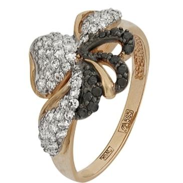 кольцо c черными и белыми бриллиантами из красного золота 11038251.17 от EVORA