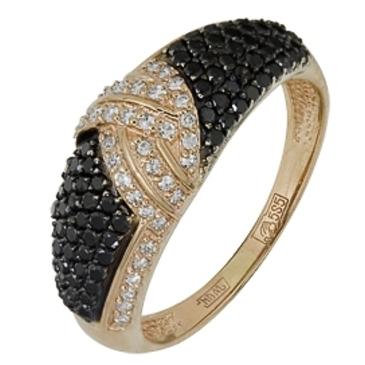 кольцо c черными и белыми бриллиантами из красного золота 12038237.17 от EVORA