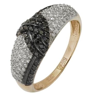 кольцо c черными и белыми бриллиантами из красного золота 12038237.17-1