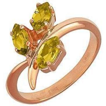 кольцо c цитринами из красного золота 11901543