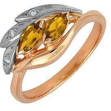 кольцо c цитринами из красного золота 12931529