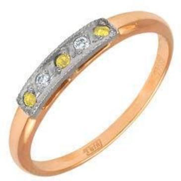 кольцо c цитринами из красного золота 1292243