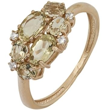 кольцо c цитринами из красного золота 1900001688