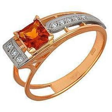кольцо c цитрином и бриллиантами из красного золота 12931626