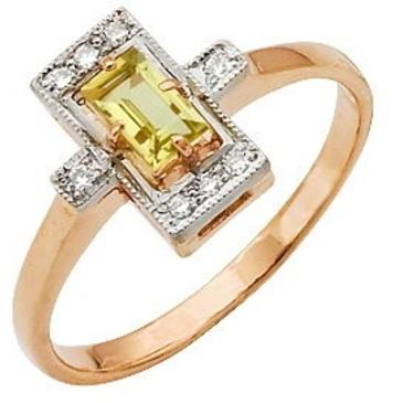 кольцо c цитрином и фианитами из красного золота 12921619