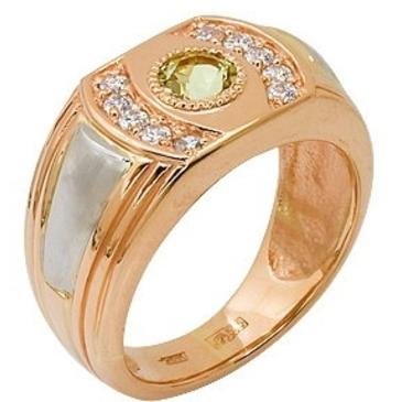 кольцо c цитрином и фианитами из красного золота 12922519