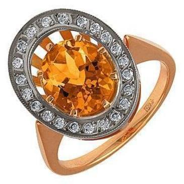кольцо c цитрином из красного золота 12931576