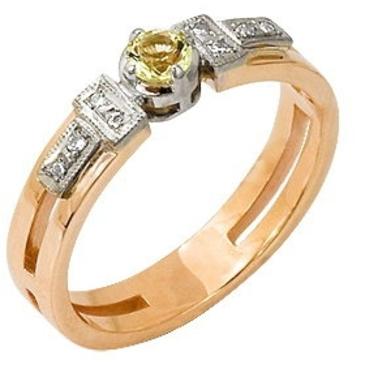кольцо c цитрином из красного золота 12921444