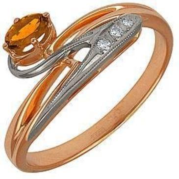 кольцо c цитрином из красного золота 12931436