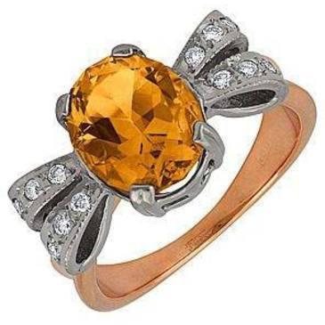 кольцо c цитрином из красного золота 12931562