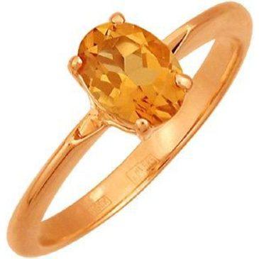 кольцо c цитрином из красного золота 1190524